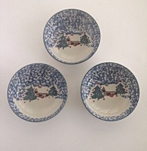TIENSHAN Folkcraft -Cabin In The Snow -Three Coupe Cereal Bowls - Blue - $11.29
