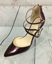 Liz Claiborne Womens 8.5 M Burgundy Patent Leather Suede Ankle Strap Zipper - $27.08