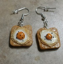 Delicious Egg on Toast Charm Earrings Clay Breakfast Charms Silver Wires - $6.00