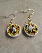 Delicious Nacho Plate Earrings Food Clay Charms Wires Nachos  - $7.00