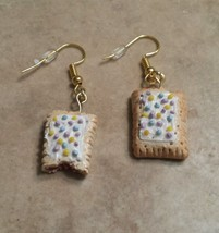 Cute Miniature Pop Tart Charm Earrings Food Clay Charms Kids Food Wires - $6.00