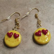Cute Heart Eye Emoji Charm Earrings Emoticons Clay Charm Wires Unique Kids - $6.00