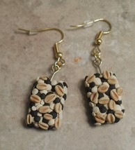 Cute Granola Bar Charm Earrings Clay Charms Food Snack Wires Miniatures - $6.00