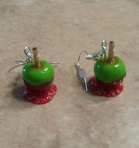 Festive Candy Apple Wire Earrings Clay Charms Food Apple Fall Charms  - $6.00