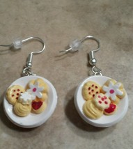 Cute Cookie Plate Charm Earrings Clay Charms Cookies Wires Holiday Food ... - $6.00