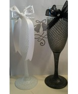 Beautiful Lace Design Wedding Flutes Painted Glassware Wedding Gifts Flutes - $16.50