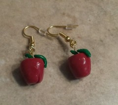 Apple Charm Wire Earrings  Kids Jewelry  Clay Charms  Teacher Gift Earrings - $6.00
