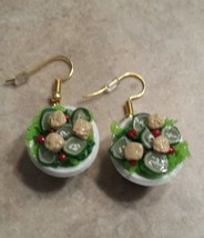 Miniature Salad Bowl Earrings Clay Charms Food Gold Wires Earrings  - $6.00