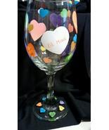 Valentine Hearts Goblet Hand Painted Barware Wine Glassware Holiday - $13.00