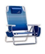 Set Of 4 Nautica Blue Lightweight 5 Position Recline Beach Chair With Co... - $187.00
