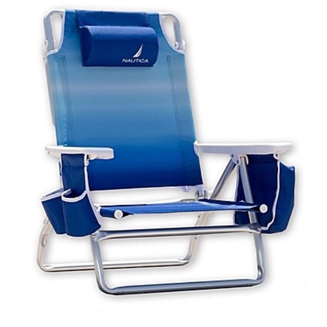 Nautica Blue Lightweight 5 Position Recline Beach Chair With Cooler
