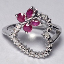 Natural Ruby Diamond Butterfly Open Heart Promise Ring Womens Sterling S... - $79.00