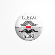 Dishwasher Magnet Clean / Dirty Round Adorable retro-style Mustache trend - €4,19 EUR