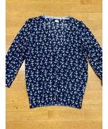Jcrew Navy And White Cotton Cardigan Women's Size XS Anchor Print - $24.95