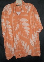 Cubavera Shirt XL 100% Rayon Light Brilliant Orange Striped Leaves - $22.76