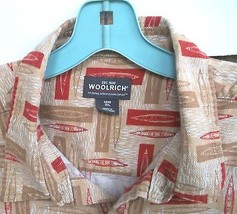 Woolrich Textured Cotton Kayak 2XL Beige Red Button  Front  Shirt - $31.67