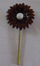 Vintage Large Daisy Sunflower Painted Brooch Pin Brown & White - $18.80