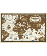 1939 Pictorial Map Air France Poster Airline Routes Print Vintage Reproduction - $12.87 - $26.73