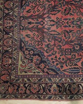 Sarouk Persian Wool Hand-Knotted Rug 5' x 7' Salmon Red Vintage Antique Red Rug image 2