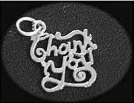 LOOK Sterling Silver .925 Thank you Pendant charm Jewelry - $12.16