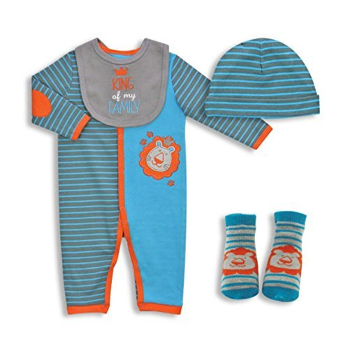 4-PIECE BABY COVERALL SET - KING OF MY FAMILY (3-6)