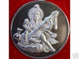 LOOK Saraswati Goddess OM Silver Charm Pendant Jewelry Hindu - $20.03