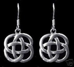 LOOK New Celtic Infinity Knot Sterling Silver Wicca Earrings - $21.80