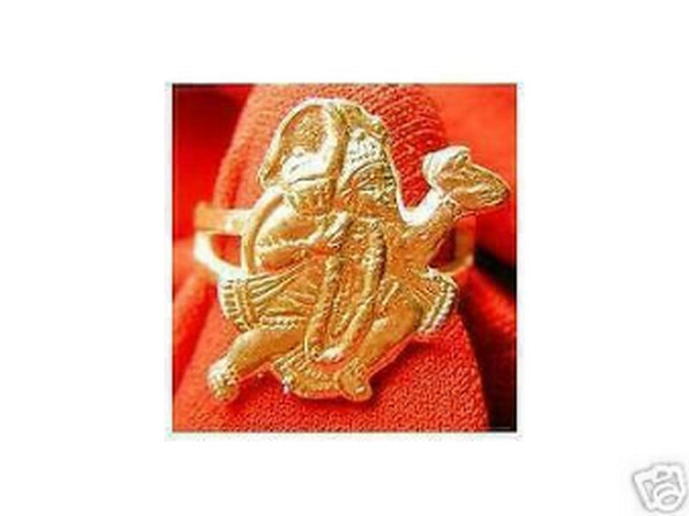 LOOK Hindu Monkey Lord Hanuman OM Gold Plated ring Jewelry