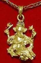 LOOK Hindu Lord Ganesh OM Gold plated over real Sterling Silver Charm Pe... - $15.37