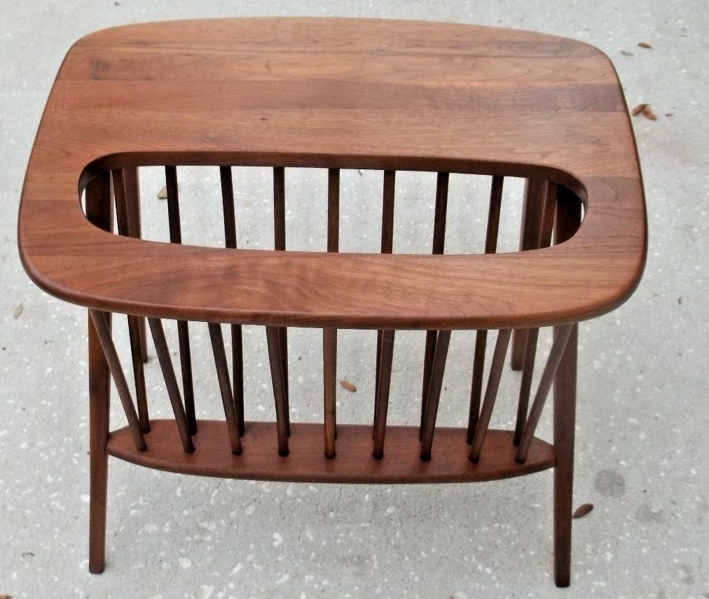 Arthur Umanoff Mid Century Walnut Table Magazine Rack Danish Modern Eames Era