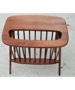 Arthur Umanoff Mid Century Walnut Table Magazine Rack Danish Modern Eame... - €649,77 EUR