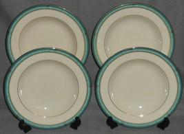 Set (4) MIKASA Fine Ivory MAJESTIC JADE PATTERN Rimmed Soup Bowls MADE I... - $39.59
