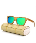 Men/Woman Glass Bamboo Sunglasses Retro Vintage Wood Lens Handmade, Green - $35.59