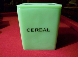 Jadite Jeannette Square Cereal Canister with Poinsettia Embossed Lid - $165.00