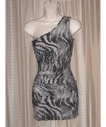 DKL Womens Girls One-Shoulder Gray Chitah Leopard Black  Bodycon Mini Dr... - $24.99
