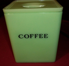 Jadite Jeannette Square Coffee Canister with Poinsettia Lid  - $150.00
