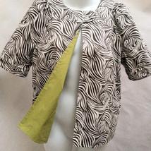 Christopher Banks M Reversible Jacket Green Brown Animal Print Short Sleeve - $21.54