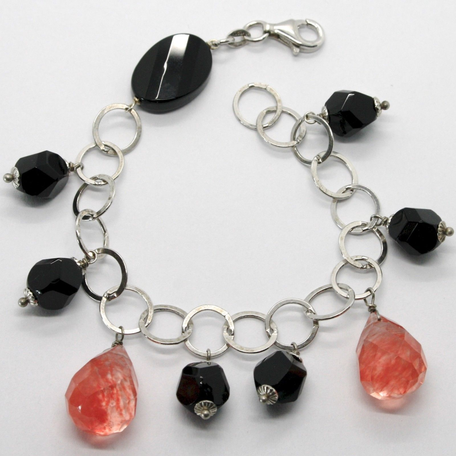 925 STERLING SILVER BRACELET WITH BLACK ONYX NUGGETS AND FACETED RED QUARTZ DROP