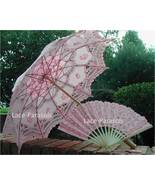 Embroidered Lace Parasol Umbrella w/lace fan - $44.00