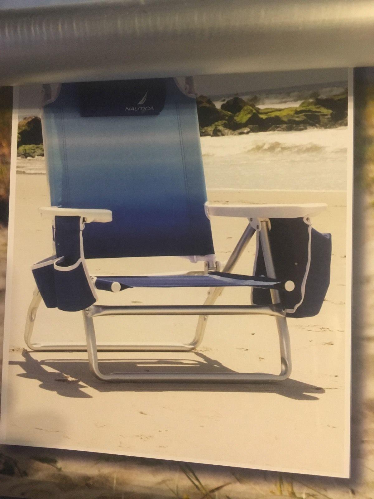 Set Of 4 Nautica Blue Lightweight 5 Position Recline Beach Chair With Cooler