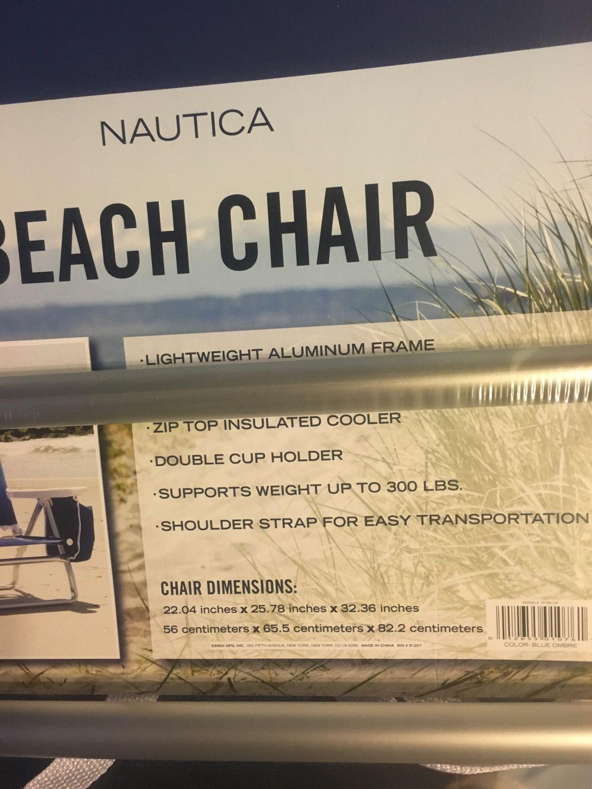 Nautica Blue Lightweight 5 Position Recline Beach Chair With Cooler
