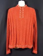 Woolrich 1/4 Zip Knit Sweater Bittersweet Orange Cross Stitch Design Siz... - $300,94 MXN