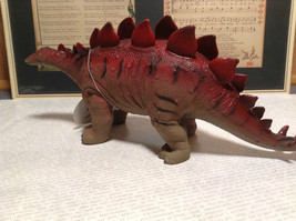 Stegosaurus Geo Central Red and Brown Rubber Toy Dinosaur New with Tag image 5