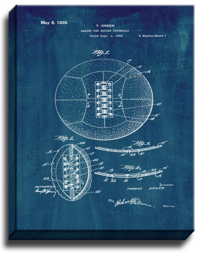 Primary image for Lacing For Soccer Footballs Patent Print Midnight Blue on Canvas