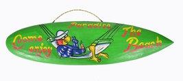 "Parrot Head In Hammock ""Come Enjoy The Beach Paradise""Tiki Bar Sign Surfboard... - $14.79"