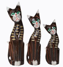 Large Hand Carved Beautiful Set of 3 Wood Brown Cats Green Eye Pet Lover... - $24.69