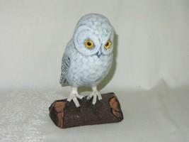 Vintage Carved Wood Snowy Owl on Log Bird Figurine Made China - $25.24