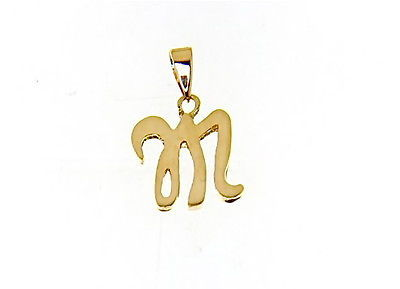 18K YELLOW GOLD LUSTER PENDANT WITH INITIAL M LETTER M MADE IN ITALY 0.71 INCHES