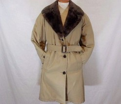 Vintage L.L.Bean Down Filled Long Women's Beige Coat M / Medium Made in USA - $50.03