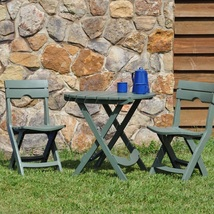 Outdoor Bistro Set Patio Garden Yard Dining Furniture 3 Piece Stools Tab... - £109.73 GBP